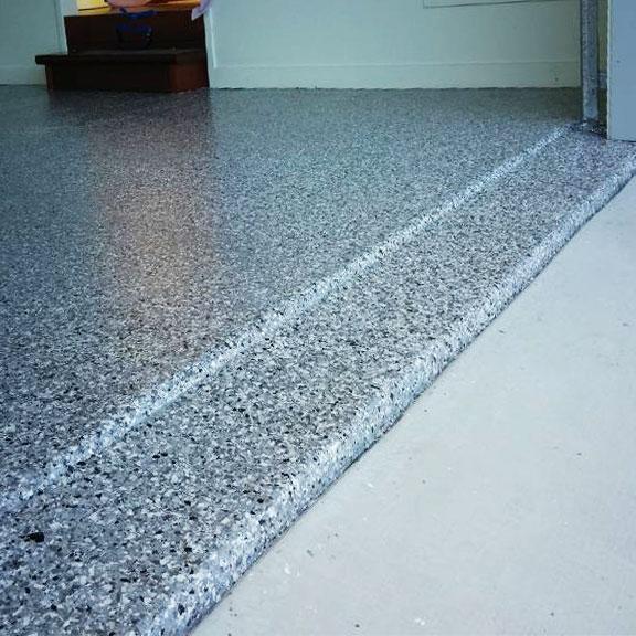 Garage Flake Floor by Burke Concrete Resurfacing
