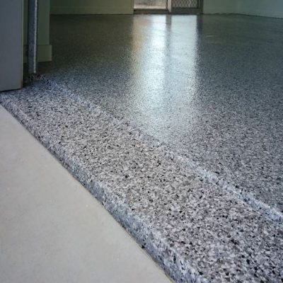 Garage Flake Floor by Burke Concrete Polishing