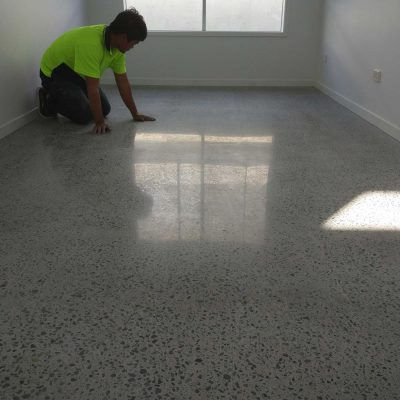 New Home Indoor Concrete Polish with Grow In The Dark Gems by Burke Concrete Polishing