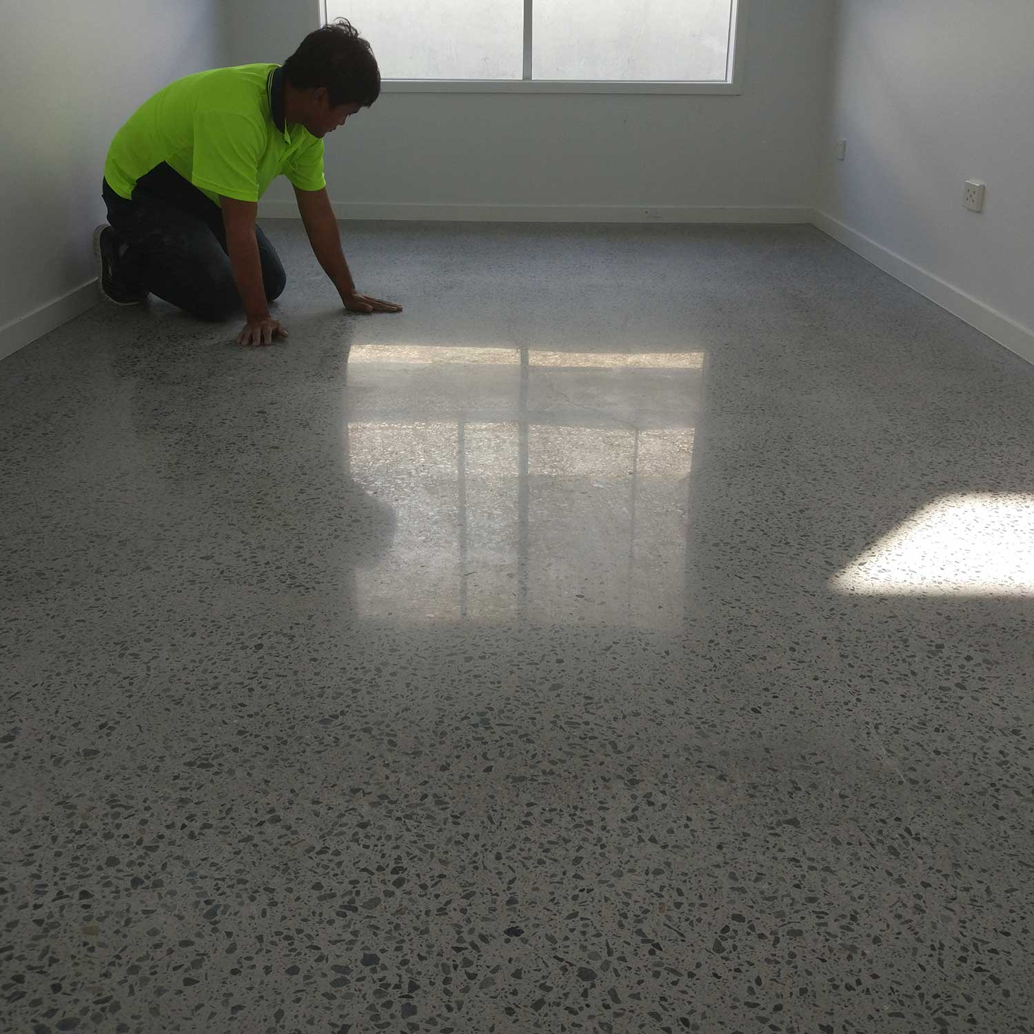 New Home Indoor Concrete Polish with Grow In The Dark Gems by Burke Concrete Resurfacing